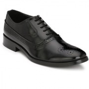 Hirel's Black Oxford Brogue Cap Toe Synthetic Leather Formal Shoes