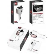 Bluetooth FM Transmitter met Oortje - Auto - Carkit – LED Display – Adapter - Privé en Handsfree Bellen – Bluetooth 5.0 – 2 USB Poorten - Voice Assistant
