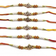 Ganesh Ji Designer Rakhi Set For Men Gold Stone Beads White Pearl Multicolor Thread Rakhi For Brother/ Bhaiya/ Bhabhi/ Bhai (Pack of 6) Rakshabandan Colorful Rakhee Mauli Bracelet For Boys