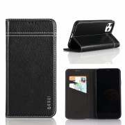 GEBEI Warship Series Genuine Leather Phone Shell Case with Card Slots for iPhone 11 Pro Max 6.5-inch - Black