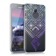 kwmobile Průhledné pouzdro s designem aztécké obrazce pro Samsung Galaxy J5 - modrá