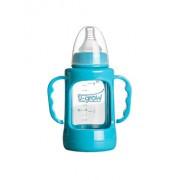 Biberon din sticla cu gat normal si protectie plastic U-Grow A-1007, 0-3 luni, 120 ml