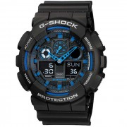 reloj de cuarzo analogico-digital genuino casio g-shock GA-100-1A2ER-negro