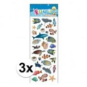 Merkloos 3x Stickervel zeedieren
