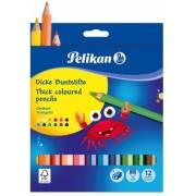 Creioane colorate Jumbo 12 culori + ascutitoare Pelikan