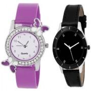 Slim & Shiny Look Black & Purple butterfly on diamond studded case analog 71439 Standard Quality Premium Colllection
