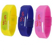 combo of three band watches yellow blue & pink for men