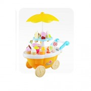 FNT 39pcs Ice-Cream&Sweets Shopping Cart Kit Kids Pretend Play Toy-Yellow