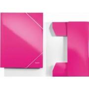 Mapa LEITZ Wow carton cu elastic - roz metalizat