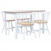 vidaXL Set mobilier bucătărie, 5 piese, alb & maro, lemn masiv hevea