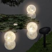 vidaXL Плуващи соларни LED лампи – сфери за басейн – 3 бр.