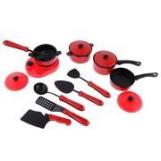 Segolike 9/11/13Pcs Plastic Children Kids Simulation Kitchen Cookware Set Pretend Role Play Toys - red, Red 11 Pieces Set