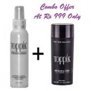 Topp-ikk Hair Building Fibers 27.5gm Black Color And Toppik Fiber Hold Spray 118ml