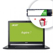 "Лаптоп Acer Aspire 7 A717-72G-74B2 (NH.GXDEX.048) с подарък 240GB SSD WD Green, шестядрен Intel Core i7-8750H 2.2/4.1GHz, 17.3"" (43.94 cm) FHD Anti-Glare LED ComfyView Display & GeForce GTX 1050 4GB, (HDMI), 8GB DDR4, 1TB HDD, USB C, Linux, 3.0 kg"