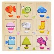 Детски Дървен пъзел Цветове и животни, 331063