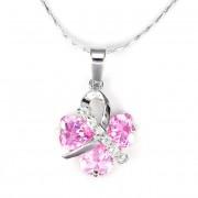 Swarovski kristályos nyaklánc rózsaszin lóherével
