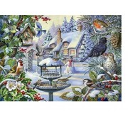The House of Puzzles Big 500 Piece Jigsaw Puzzle Winter Birds in Snowy Garden