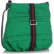 Home Heart Girls Casual Green Canvas Sling Bag