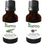 KAZIMA Combo Set of Rosemary Oil and lavender Essential Oil ( Each 15ml ) Ideal for use in Hair loss Treatment Promotes Hair Beard Growth Moisturizes Skin Health Benefit Massage