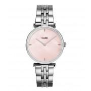 CLUSE Horloges Triomphe 5 Link Silver Plated Salmon Pink Zilverkleurig