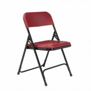 National Public Seating Burgundy Plastic Seat Stackable Outdoor Safe Folding Chair (Set of 4), Red