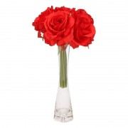 Bellatio flowers & plants Rode rozen boeket 6 stuks inclusief smal vaasje