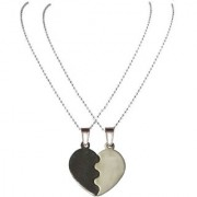 Men Style 2016 New Broken Heart Black And Silver Zinc Alloy Heart Pendent Set For Men And Women