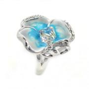 Kék árvácska Swarovski kristályos gyűrű, ezüst színű-6