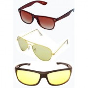 Magjons Brown Wayfarer Cream Colour Aviator Sunglasses Combo Yellow Driving Goggale Set of 3 With box MJK017