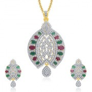 Sukkhi Royal Gold And Rhodium Plated Ruby CZ Pendant Set For Women