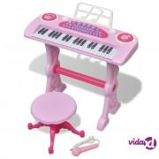 vidaXL Ružičasta dječja klavijatura s 37 tipki, stolcem i mikrofonom