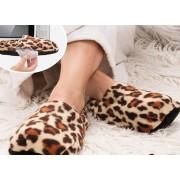 Papuci cu incalzire la microunde Leopard