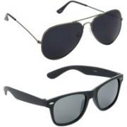 Hrinkar Aviator Sunglasses(Black, Grey)