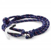 Tailor Toki La marin - bracelet bleu marine, rouge et blanc à pendentif argenté