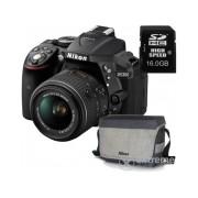 Kit aparat foto Nikon D5300 (AF-P 18-55 VR), negru + geanta Nikon + card 8GB SD, 3 ani garantie body