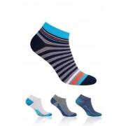 Steven art.004 35-37 Kotníkové ponožky, se vzorem 35-37 mel.světle šedá-mel.jeans