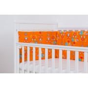 Set protectii patut 140 x 70 cm Jocul Elefantilor fond portocaliu