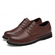 Ronde kop effen kleur eerste laag koeienhuid casual schoenen voor mannen (kleur: bruin maat: 40)