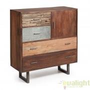 Dulap din lemn de mango, cu 3 sertare din lemn, 1 sertar din metal si o usa LOFT AA0335M91 JG