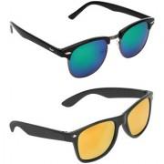 Zyaden Combo of two Sunglasses Clubmaster & Wayfarer - Pack of 2
