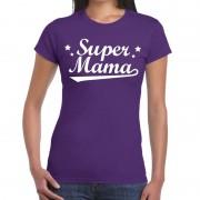 Bellatio Decorations Kadoshirt Super mama paars voor dames 2XL - Feestshirts