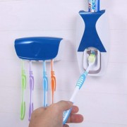 Tradeaiza Automatic Toothpaste Dispenser With 5 Toothbrush Holder Set Wall Mount Stand Plastic Toothbrush Holder-009
