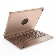 F180 Aluminum Alloy 360 Degree Rotation Bluetooth Keyboard with 7-color Backlight for iPad 9.7-inch (2018) / 9.7-inch (2017) / Air 2 / Air - Gold
