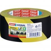 Tesa 1x Tesa aanduidingtape geel met zwart 5 cm x 66 mtr
