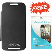MOTO G2 FLIP COVER (BLACK) WITH FREE SCREEN GUARD