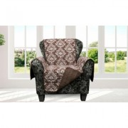 Quick Fit Damask and Plaid Check Reversible Slipcover Furniture Protector Chairs Standard Damask- Chocolate Brown
