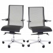 Bürostuhl MERRYFAIR Saville, Schreibtischstuhl Drehstuhl, Leder-/Netzkombination schwarz ~ Variantenangebot