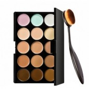 Imported 15 Colors Contour Face Creme Makeup Concealer Palette + Make up Brush Pack of 2-C357