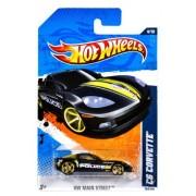 "Mattel Year 2010 Hot Wheels ""Hw Main Street"" Series Set (4/10) 1:64 Scale Die Cast Car (164/244) City Of Fayette Black Color Police Sports Car C6 Corvette (T9871)"