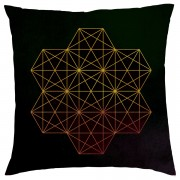 Geometric Star Print Cushion - Black - Textured Linen - Black